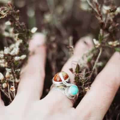 ring with gemstones for anxiety
