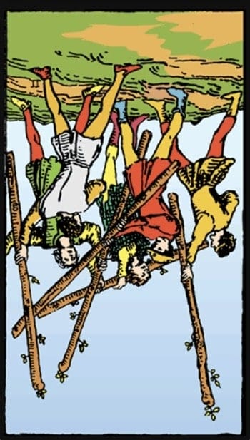 reversed five of wands