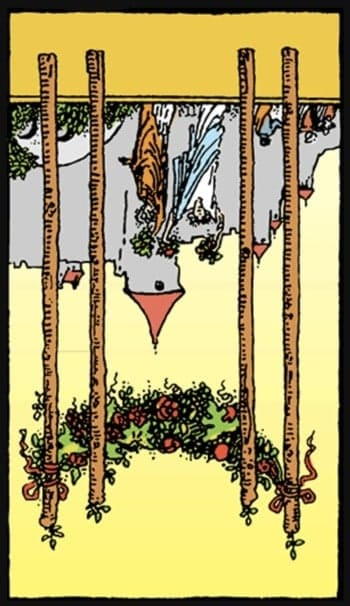 reversed four of wands