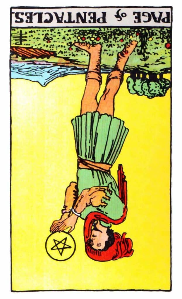 page of pentacles reversed