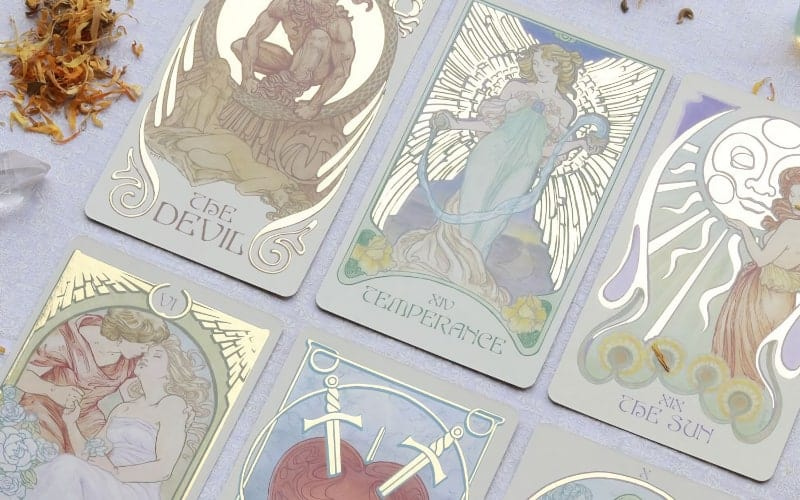 ethereal visions tarot deck golden accents