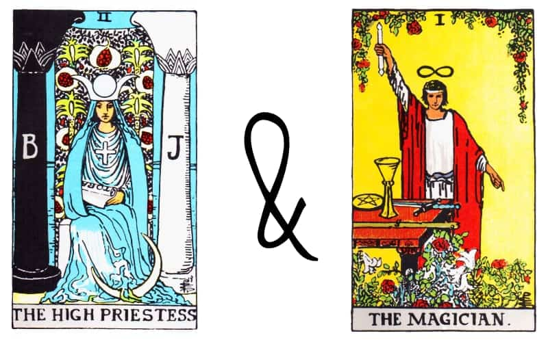 high priestess with magician card combination in tarot