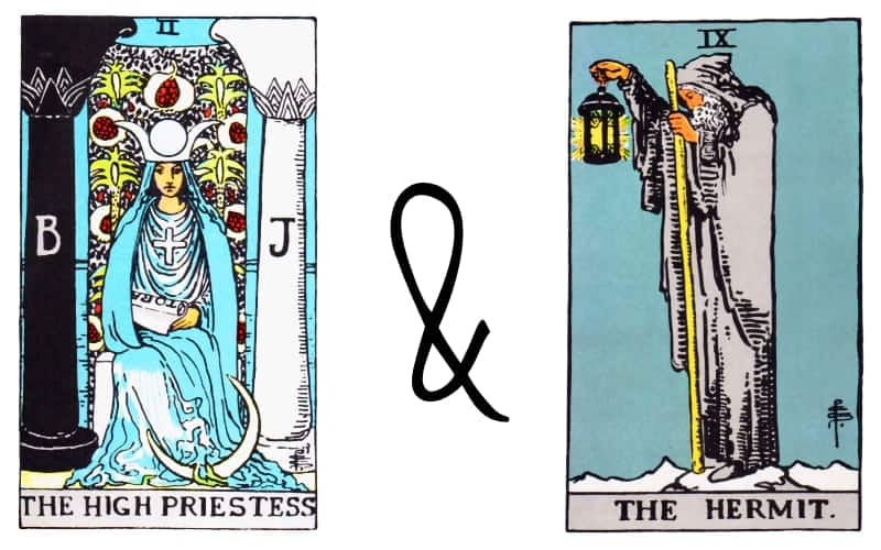 high priestess with the hermit card combination in tarot