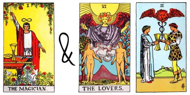 magician lovers two of cups card combinations in tarot