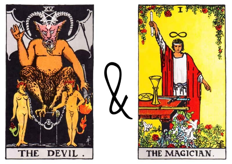 the devil and the magician tarot card spead combination