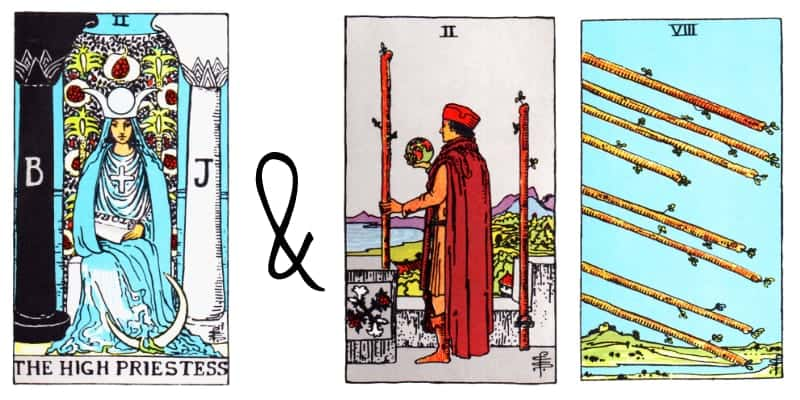 the high priestess and wands card combinations in tarot
