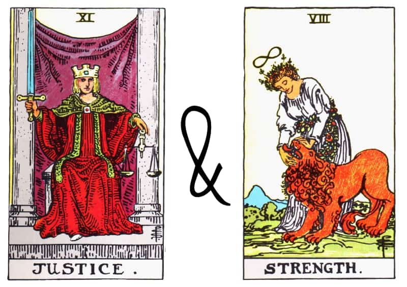 justice and strenght card combination