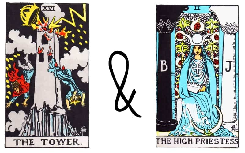 the tower and the high priestess combination