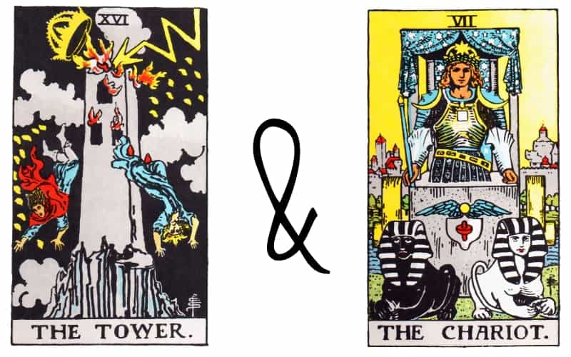 tower and chariot tarot card combination
